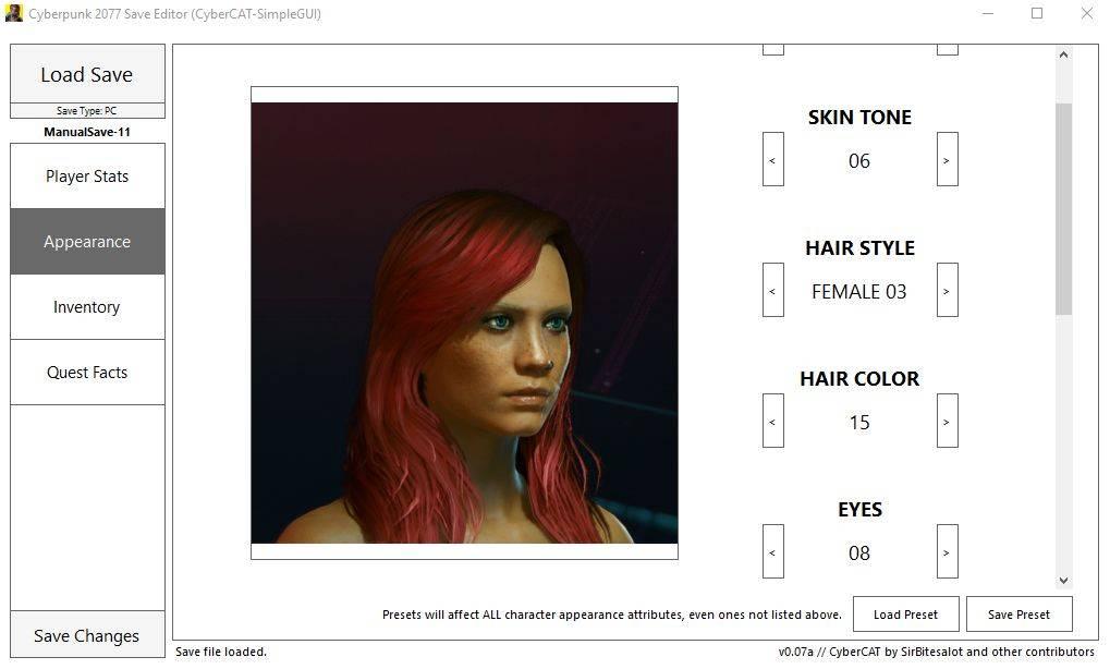 Save Editor (Project CyberCAT-SimpleGUI) [Cyberpunk 2077]